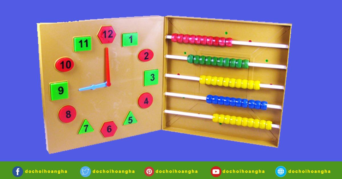Gồm: 1 mặt đồng hồ 1 mặt bàn tính: gồm 5 hàng con tính gắn 2 đầu vào khung, mỗi hàng 10 con tính.