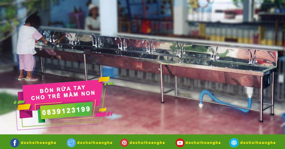 Chi tiết bồn rửa tay inox cho trẻ mầm non công nhân học sinh