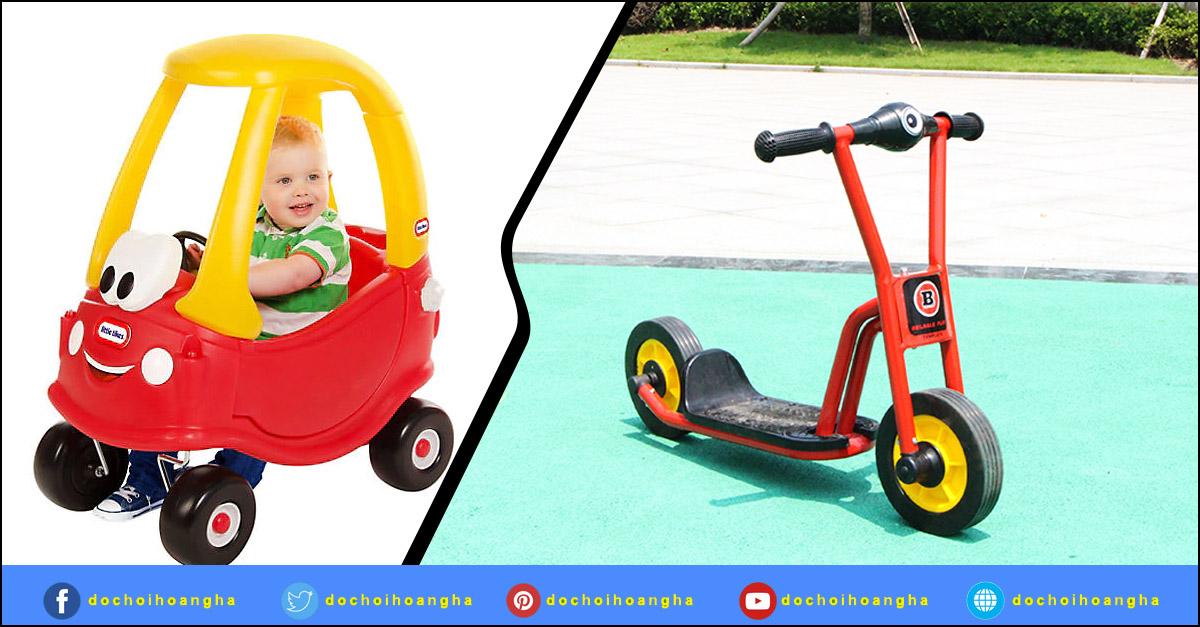 Xe đạp cho bé được trang bị bàn đạp kết hợp với bánh trước nên bé có thể dễ dàng sử dụng, di chuyển.