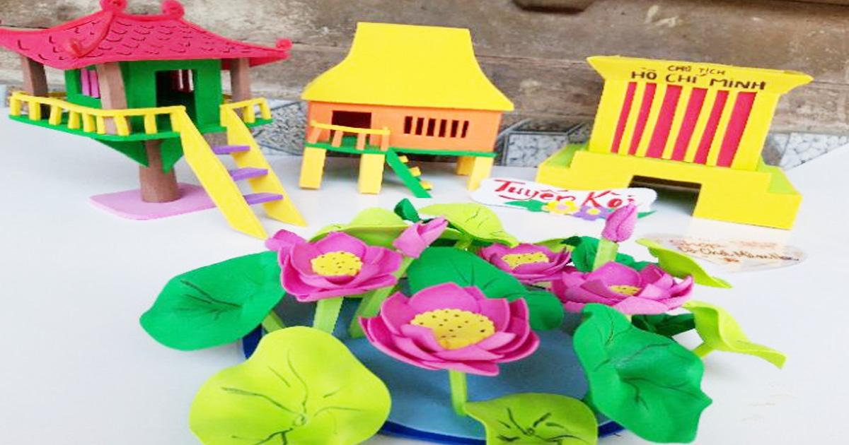 làm đồ dùng đồ chơi theo chủ đề quê hương- đất nước- Bác Hồ