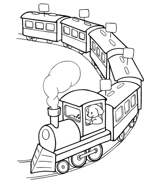 tranh rỗng tô màu đoàn tàu