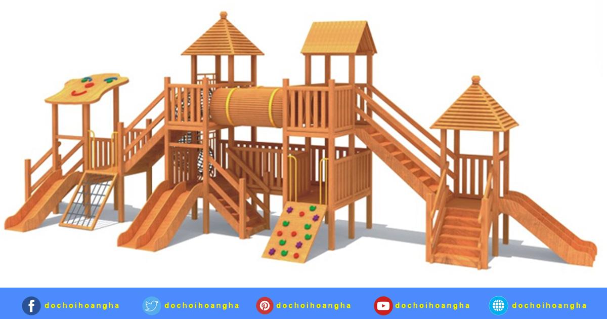 Cầu trượt xích đu liên hoàn được làm từ gỗ thông nguyên miếng .