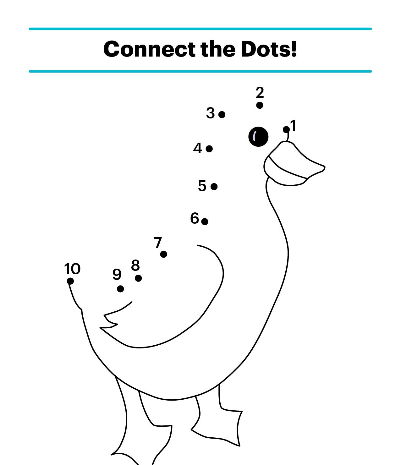 Bố mẹ có thể thử dùng hình ảnh chú vịt ngộ nghĩnh này để con chơi trò nối số tại nhà
