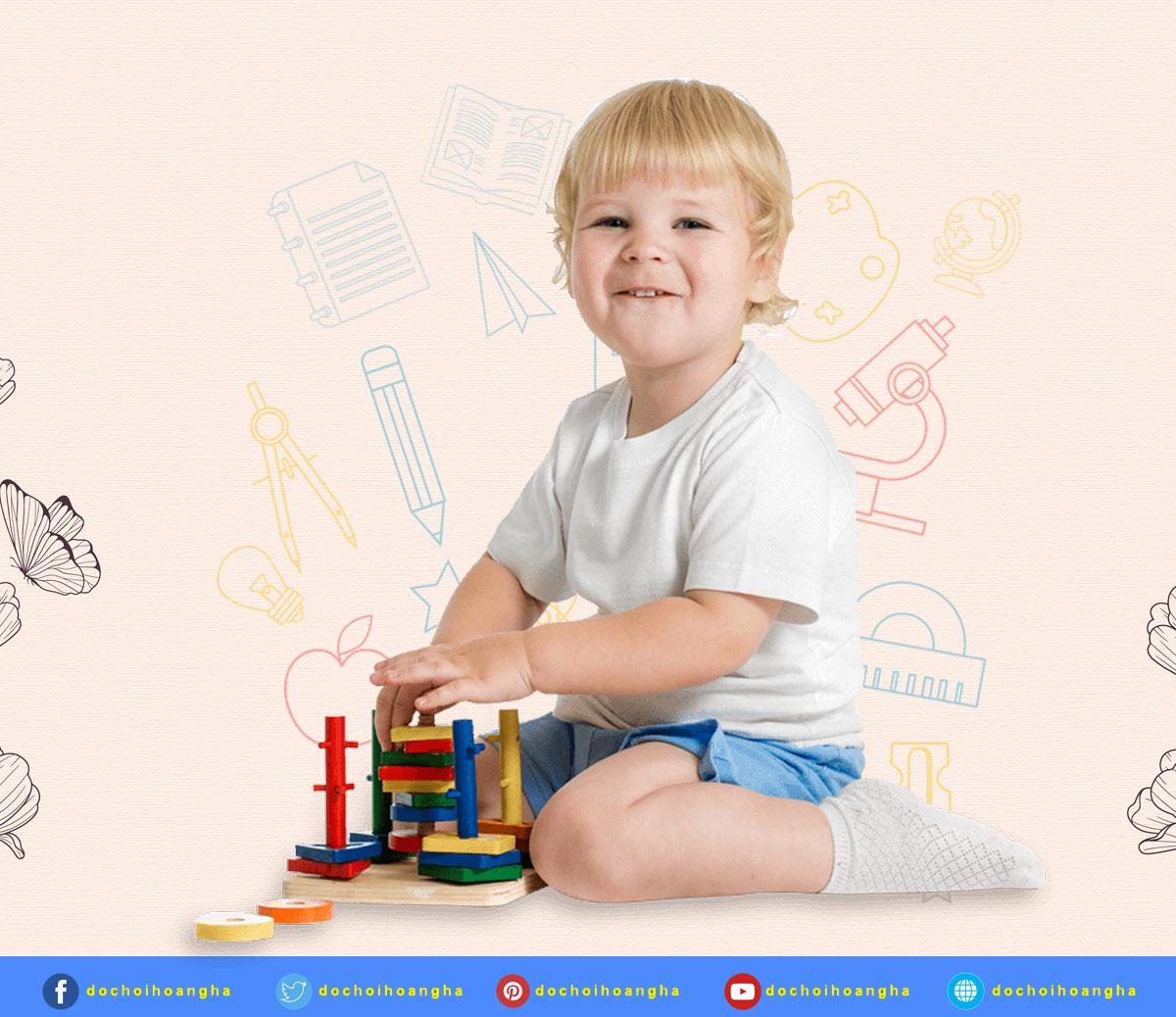 đồ chơi thả hình khối 5 cọc này bé sẽ vui biết nhường nào