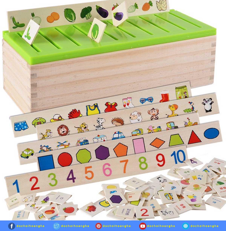 Bộ đồ chơi thả hình thẻ bằng gỗ
