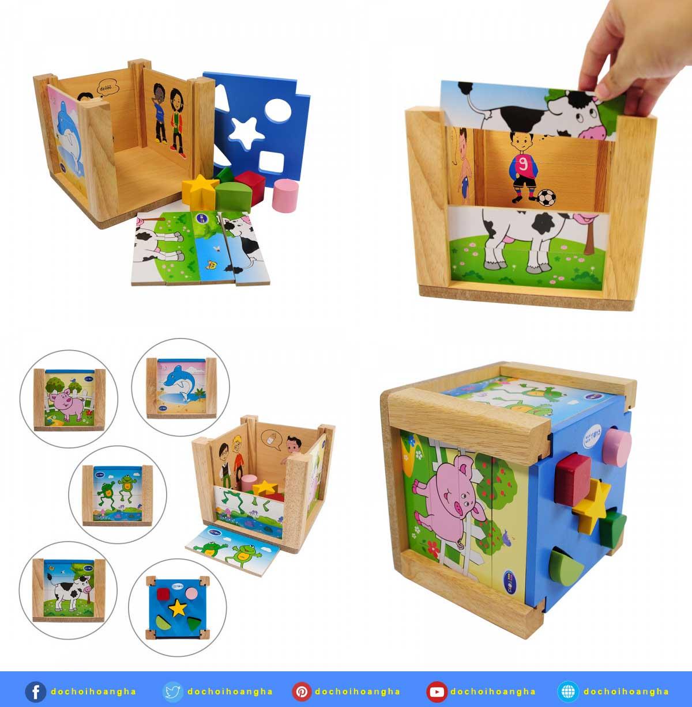 Bộ đồ chơi xếp hình và thả hình khối gỗ