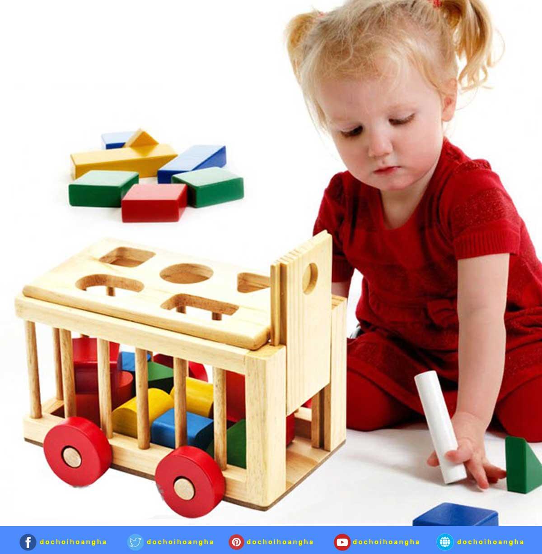 Đồ chơi hộp thả hình khối bằng gỗ có bánh xe kéo đẩy