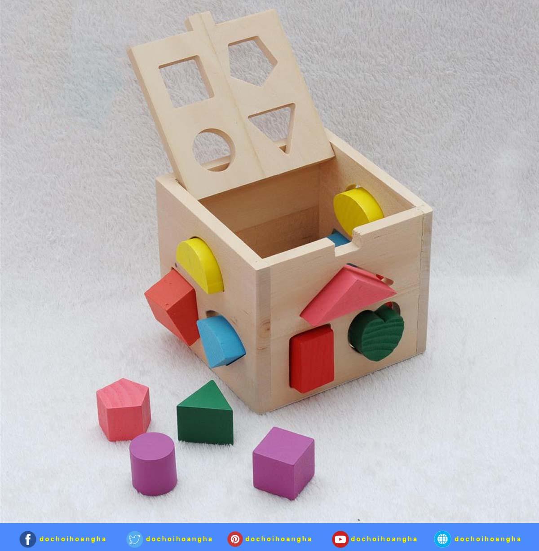 Hộp đồ chơi xếp hình thả khối gỗ Winwintoys